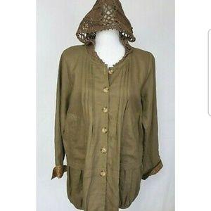 New Anthropologie Brown Linen Crochet Jacket Large